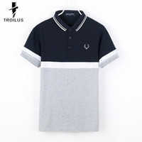 Wholesale Troilus Korean Style Turn down Collar Slimming Stylish Color Splicing Short Sleeves Men s Polyester Joker Polo Shirt