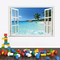 Wholesale 3d stickers cm Removable Beach Sea D Window Scenery Wall Sticker home Decor Decals Mural for living room
