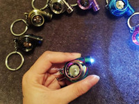 Wholesale New Fashion LED Electric Torch Spinning Turbo Keychain Fans Favorite Sleeve Bearing Turbine Turbocharger Keyring Key Chain Ring Keyfob