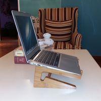 bamboo air - UNIFISH Laptop Vertical Holder Cooling Pads Modern Folding Wooden Desktop Stand for Macbook NoteBooks Laptops Bamboo Wooden Cooling Stand