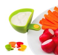 Wholesale 4 set Dip Clips Kitchen Bowl kit Tool Small Dishes Spice Clip For Tomato Sauce Salt Vinegar Sugar Flavor Spices