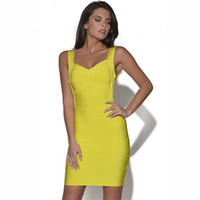 Wholesale Womens Sexy Bandage Dress Europe and America Style Celebrity Spaghetti Strap Sleeveless Solid Package Hip Party Dresses D6014