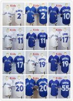 Wholesale Kids Stitched Toronto Blue Jays Martin Bautista Donaldson Tulowitzki Pillar Goins Blue white MLB Youth Baseball Jerseys