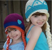 Wholesale Frozen Children Wool Cap Kids Cap Baby Crochet Hats Girls Caps Hand Knitted Caps Kids Crochet Girls Hats Child Winter Hat