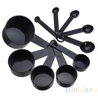 Wholesale NEW10pcs Black Plastic Measuring Spoon Cup Tool Cooking Scoop Kitchen Coffee Baking