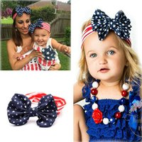 american hair bows - 2016 New American Flag Baby Headbands Chiffon Flower Knot Headbands Kid Hair Bow Baby Hair Accessory Boutique Girl Hair Accesories Head Band