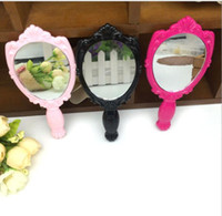 Wholesale Vintage Rose Cosmetic Mirror Compact Plastic Makeup Mirror Gift Cute Girl Handheld Make Up Tools Accessories Black White Pink Rose Free Ship