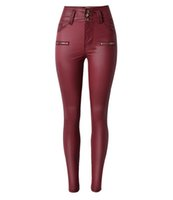 american west leather - WJ009 west fashion women skinny slim red jeans denim leather like mid waist waisted spring thick button pants