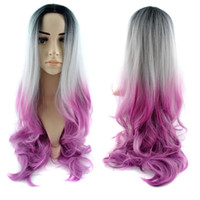 heat resistant hair - 30 quot cm Fashionable Full Head Ombre Wig Woman Long Wavy Gradient Colored Heat Resistant Synthetic Hair Cosplay Wig