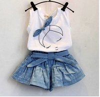baby tanktop - 2016 baby summer girl clothing Sets fashion Cotton Cartoon Sleeveless T shirt Tanktop Vest Skirts Shorts girls clothes suits