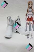 achat en gros de asuna chaussures de cosplay-Chaussures de Cosplay gros-Sword Art en ligne Asuna Chaussures Cosplay Blanc Femmes SAO Asuna