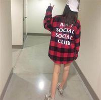 Wholesale Fashion ANTI SOCIAL SOCIAL CLUB Letters Print Hip Hop thickening Shirts Men And Women street Casual Shirts