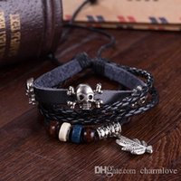 antique human skeleton - Retro Personalized Infinity Braided Leather Bracelets Charm DIY Beads Rope Bracelets Human Skeleton Antique Silver Plated Chain
