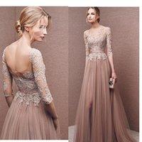 A-Line apples items - Hot Items Side Split Evening Dresses Appliqued Lace zipper Prom Dress A line Bateau Neckline Formal Evening Gowns