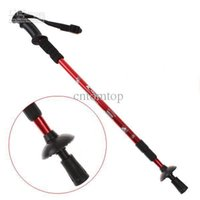 """Cheap Wholesale - Red Adjustable Telescopic AntiShock Trekking Hiking Walking Stick 26"""" to 53"""" with Compass H8307R"""