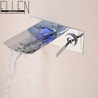 Wholesale Water Led Bathroom Tap Faucet Temperature Color Changing LED Waterfall Wall Mount Bathroom Sink Faucet