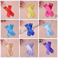 Wholesale Lovely Princess Gloves For Girls Elsa Gloves Girls Wedding Dress Gloves With Bowknot Costume Accessories Satin Gloves Colors M231