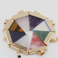 best power plates - 2016 Best Sellers Triangle Nature Stone Pendants Necklaces For Women Jewelry European Charms Multi Color Gemstone Power Pendants