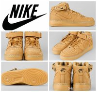 wheat quality - Nike Air Force Mid PRM QS FLAX Wheat Men Women Sneakers Shoes original quality classic AF1 basketball shoes Sizes