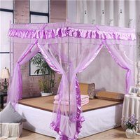 Wholesale Beautiful bed mosquito net Mesh Room Decoration Netting Pink Purple Bed Canopy Mosquito Net Hook polyester fiber cm