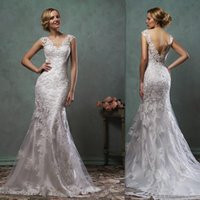 best western training - Amelia Sposa Wedding Gowns Best Western Open Back Cap Sleeves Lace Bridal Wedding Dresses Mermaid Trumpet Couture Dress For Brides
