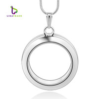Wholesale 30mm Silver Round magnetic glass floating charm locket Zinc Alloy chains included for free LSFL02