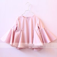 autumn clothes collection - New Collection Baby Girls Pretty Ruffles Top Clothing Boat Neck Pink And White Color Tees Trumpet Sleeves Girls Tops