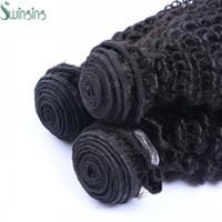 Acheter Extensions de cheveux humains tisse-Trames Qulaity Malaysian Kinky Curl Cheveux gros péruvienne Indien brésilien Natural Color Hair Extensions 3pcs beaucoup Tissages Cheveux