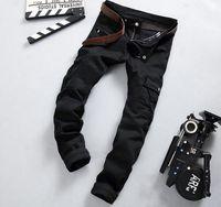 Wholesale 2016 Top sales Black Cargo jeans Moto streetwear distrressed straight long pants Punk boy Hiphop Biker Trousers