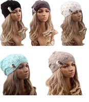 Wholesale Europe and the United States new knitted hat lace wool Beanie Hat Lady leaves button head cap are spot ray limpets