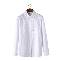 basic business - Women solid white embroidery blouse office wear long sleeve basic shirts camisas lady summer casual business wear tops LT819