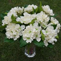 artificial flower delivery - 13 Artificial Hydrangea Flower For Thanksgiving Day Decor Cream Color Quick Delivery PU Latex Quality Real Touch Flores