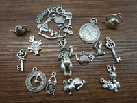 alice antiques - Mix of Alice Rabbit Charms Antique Silver Alice in Wonderland Charm Pendants