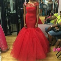 awesome prom dress - Awesome Mermaid Tulle Formal Dress Red Scoop Neck Long Beaded Pleat Prom Dresses Robe De Soiree