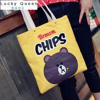 bear shoulder - Korean Fashion Ulzzang Bear Shoulder Bag Cartoon Canvas Big Capacity Bags Women Shoulder Bag