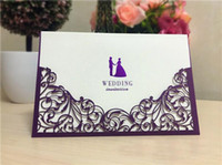Wholesale hoe sale pieces printing laser cutting wedding favors hollow wedding party luxury wedding invitations cards ribbon