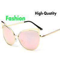 american big cats - High quality new arrival women sunglasses European and American big hollow metal cat eye dark glasses Personalized Sunglasses