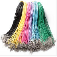 Wholesale 14 colors cm Wax Leather Necklace Beading Cord String Rope Wire with Lobster Clasp necklace bracelets DIY jewelry Findings cheap
