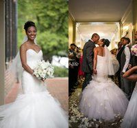 american detailing - 2016 Top Sale Backless Mermaid UK Wedding Dresses Vintage Sweetheart Tulle Ruffles Tiered Skirts Sexy African American Bridal Gowns Bandage