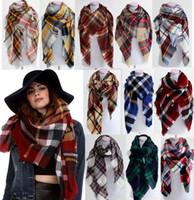 al por mayor pashmina scarf-2016 mujeres de moda de la tela escocesa de la bufanda caliente manta de invierno suave de Pashmina de la bufanda de gran tamaño del tartán de la bufanda de las mujeres del mantón de las bufandas de la bufanda envuelve navidad