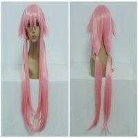 achat en gros de yuno gasai perruque cosplay-Pas cher The Future Diary Gasai Yuno 100cm longue ligne droite Tressé Light Pink Halloween Anime Cosplay perruque