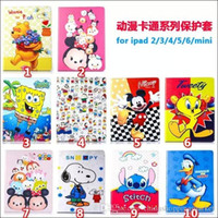 Wholesale Micky snoopy winnie pooh Protective Tablet Leather fold Stand leather cover Case for iPad Mini for ipad air ipad mini
