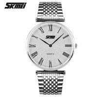Los mejores relojes de moda de calidad España-Skmei mejor precio acero inoxidable aleación metal hembra femenino masculino Quartz impermeable alta calidad negocio moda reloj