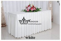 Wholesale White Polyester Table Skirt Table Skirting For Many Kind Of Table For Wedding Party Hotel