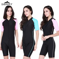 Wholesale SBART Women Short Sleeve UPF50 Wetsuit Swimsuit Quick Dry One Pieces Diving Suit Kite Surfing Swimming Rashguard Swimwear
