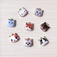 Wholesale Cute Cat Bronze Zinc Alloy Cat Charm Pendant Jewelry Findings Components x12mm