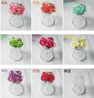 bag cage - 10 CM wedding bells candy box Wrought iron bird cage pearl white flowers gift packaging candy jewelery bags HOT SALE E95