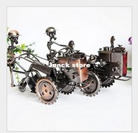 antique tractors - Wrought iron ornaments retro metal texture tractor model slidably rotation