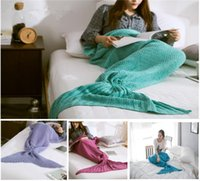 air towel - 50cm x cm Fashion Knitted Mermaid Blanket Super Soft Warmer Blanket Bed Sleeping Costume Air condition Knit Blanket Colors