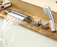 bathtub designs - Modern New Designed Bathroom Deck Mounted Polished Chrome Brass Waterfall Bathtub Faucet With Hand Shower Mixed Tap